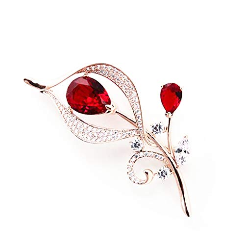 Hanie Flower Brooch for Women, Rose Gold Pin Brooch with White & Red Cubic Zirconia, Come with Stainless Steel Chain, can Wear as Necklace Suitable for Sweater Coat, Perfect as