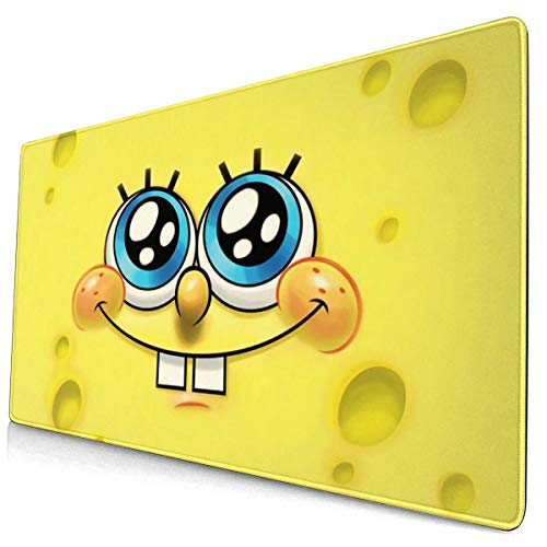 Cartoon Anime Spongebob Squarepants Mouse Pad with Stitched Edge Premium-Textured Mouse Mat Rectangle Non-Slip Rubber Base Oversized Gaming Mousepad,for Laptop Computer & PC 15.8X29.5 Inches