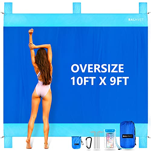 Balhvit Sandproof Beach Blanket, 10'x9' Oversize Sand Free Beach Mat for 7 Adults, Waterproof Fast Drying Durable Outdoor Picnic Mat with 5 Pockets & 4 Stakes for Travel, Hiking, Music Festivals