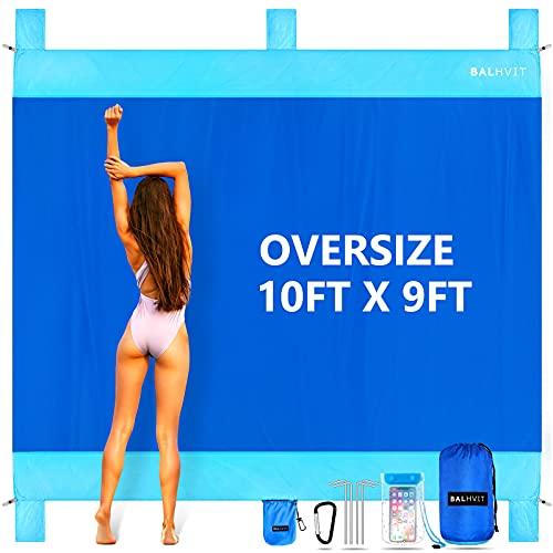 Balhvit Sandproof Beach Blanket, 10'x9' Oversize Sand Free Beach Mat for 7 Adults, Waterproof Fast...