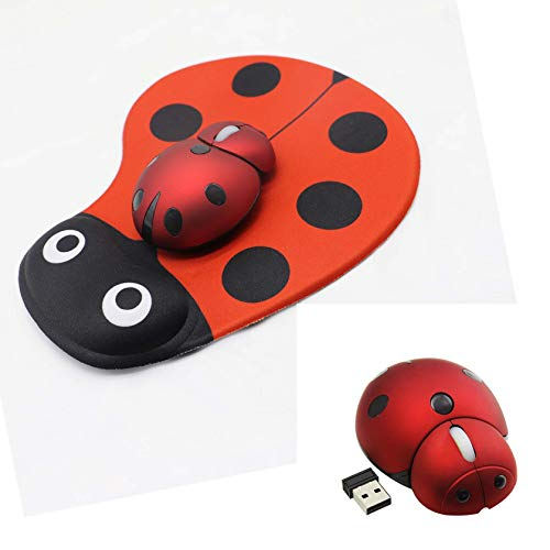 Ladybug Mouse Pad with Mini Mouse,Ladybug Wrist Support Cute Mouse Pad and Mini Cute Traveling Wireless Mouse Ladybug Shape Cordless Computer Mouse for Home and Traveling(with Battery)