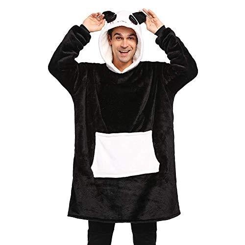 LATH.PIN Panda Hoodie Decke Damen Pullover Decke Sweatshirt Herren Oversize mit Kapuze Unisex Kapuzenpullis (schwarz, L: Höhe 171-190 cm)