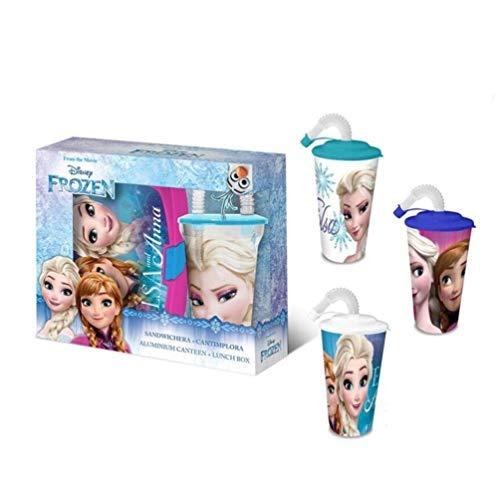 Disney- Set Sandwichera Plástico Y Vaso con Caña, Multicolor (Kids Euroswan WD19507)
