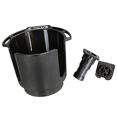 Scotty 0311-BK Cup Holder with Bulkhead/Gunnel Mount and Rod Holder Post Mount - Black