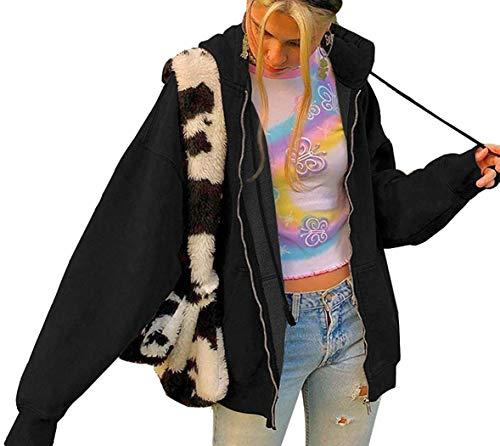 Minetom Damen Hoodie Vintage Reißverschluss Sweatshirt Samt Loose Winter Jacke Langarm große Tasche Fleece Outwear Mit Kapuze Kurzmantel A Schwarz 42
