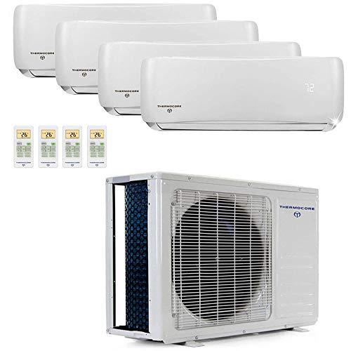 Thermocore 45000 Air Conditioner Ductless Mini Split Quad 4 Zone 45,000 3.75 Ton 22.5 Seer 9k 12k BTU, Heat Pump: 9000 + 12000 x 3
