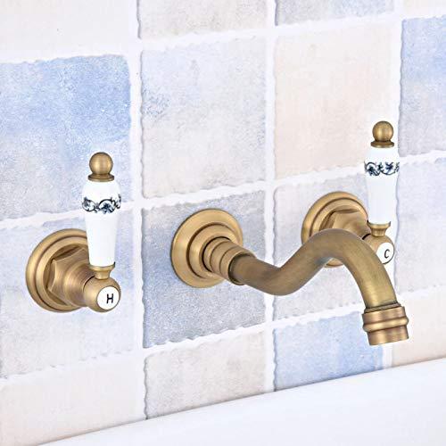Bañera montada en la pared generalizada de latón antiguo 3 orificios manijas de cerámica dobles Cocina Baño Bañera Fregadero Grifo mezclador Grifo