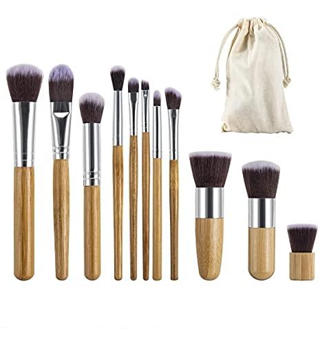 Set 11 Brochas de Maquillaje Bambu, Ecologicas, ideales para aplicar maquillaje en polvo y crema
