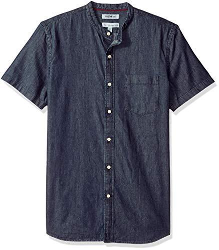 Amazon Brand - Goodthreads Men's Standard-Fit Short-Sleeve Band-Collar Denim Shirt, -dark blue, Large