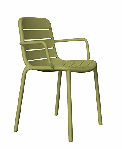 resol grupo Gina Set de 2 sillas con brazos de diseño para interior, exterior, jardín, Verde oliva, 52 x 56,9 x 80,5 cm