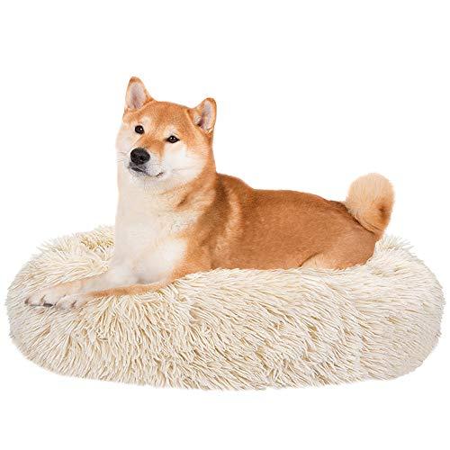 Nasjac Cama calmante para Mascotas, Nido de Mimbre para Donuts Cojín de Felpa Suave y cálido para Perros con Esponja acogedora Parte Inferior Antideslizante para Mascotas
