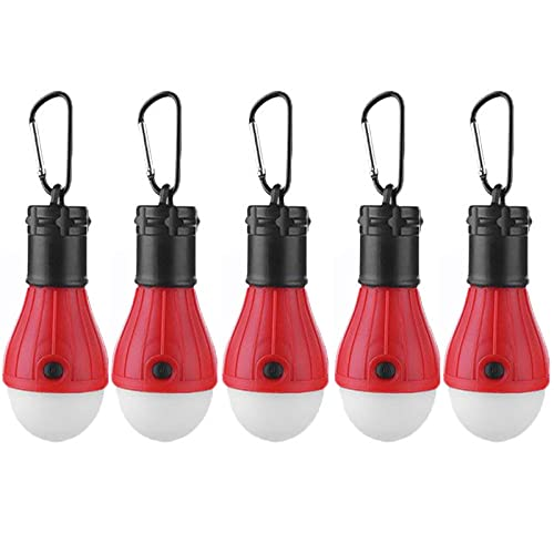 Campinglampe 5 Stück Wasserdichte Zeltlampe Tragbares LED-Licht mit Karabinerhaken für Stromausfall Camping Abenteuer Angeln (Rot)
