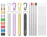 4 Pack Portable Reusable Metal Straw Collapsible Stainless Steel Drinking Straw Telescopic Straw to Drink Water Smoothie with Aluminum Key-chain Case & Cleaning Brush (Black & silver & purple & gold)