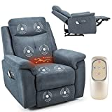 AVAWING Electric Massage Recliner Chair w/Wireless Remote Control, Massage Heated Vibration Sofa w/Double Side Pockets & USB Charge Port, Home Fabric Microfiber Recliner for Living Room, Blue Grey