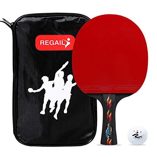 Calidad Ping Pong Paddle Table Tennis Racket Mango Largo Ping Pong Bat Ping Pong Racket Set Accesorios de Entrenamiento Racquet Bundle Kit con Bolsa y una Pelota para Interiores y Exteriores