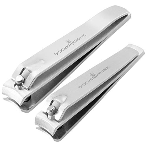 Schwertkrone Nagelknipser Set Nagelschneider Fingernagelknipser und Fußnagelknipser aus Premium Edelstahl Maniküre Nagelzange Nagelpflege (2er Set)