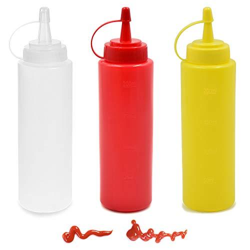 cococity 3 Stück Quetschflasche Salat Kochflasche mit Deckel Spitze Kappe für Haus, Restaurant, Dressings, Olivenöl, BBQ Sauce- BPA Frei (8oz)