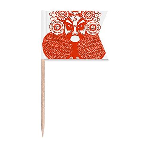 Red Head Papierschnitt Peking Opera Muster Zahnstocher Flaggen Markierung für Party Kuchen Lebensmittel Käseplatte