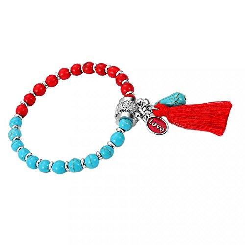 joyMerit Pulsera de Cuentas de Mujer única con Dije de Amor - Rojo + Azul
