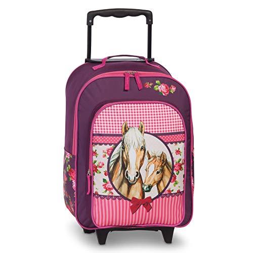 Fabrizio Kids - Maleta con ruedas (2 ruedas, 42 cm, 42 cm), diseño de caballos, color rosa
