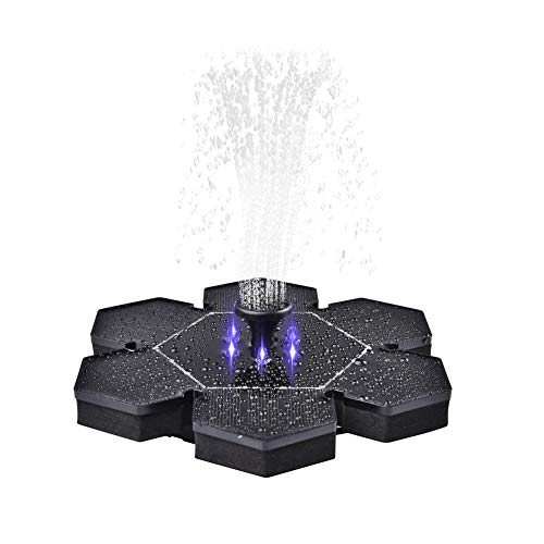 fervory Solar Springbrunnen, 2.4W Solar Teichpumpe Springbrunnen mit Akku mit 6 Effekte für Teich, Vogel-Bad, Fisch-Behälter, Kleiner Teich, Garten
