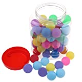 Buytra 60 Pack Colored Beer Ping Pong Balls 40mm with Storage Holder, Plastic Table Tennis Ball for Party...
