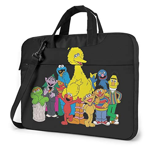 Coo-Kie El-Mo Monster Family Shockproof Laptop Case Shoulder Bag Luggage Strap, Detachable Shoulder Strap, Splash-Resistant Commuting, School, Business, Travel, 14 Inch