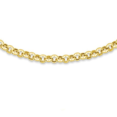 14k Yellow Gold 18 Inch 7mm Rolo Cuban Link Chain Necklace Pendant Charm Fancy Fine Jewellery For Women Mothers Day Gifts For Her