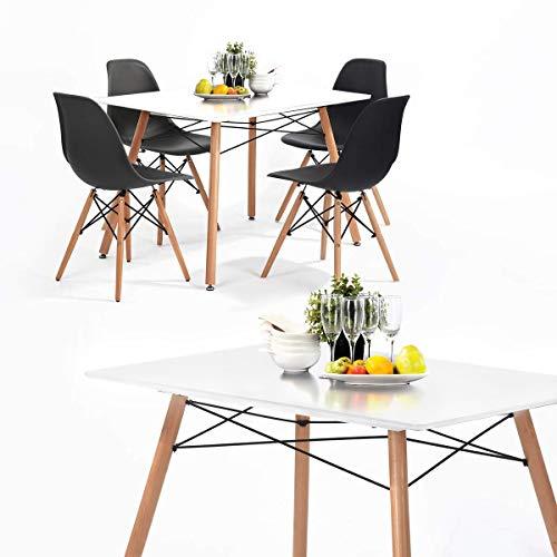 H.J WeDoo Esszimmergruppe mit Esstisch und 4 Essstühlen, Essgruppe Weiß Tisch mit 4 Schwarz Stühlen für Esszimmer, Küche & Wohnzimmer
