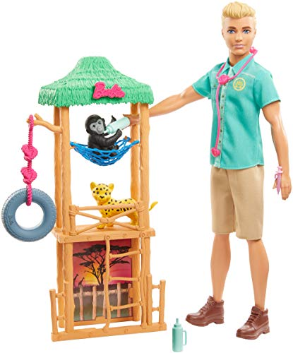 Ken Wildlife Vet Playset with Doll, Vet Care Station, Baby Cheetah and Monkey Figures and Related Animal Caretaking Accessories for Ages 3 and Up [Amazon Exclusive]