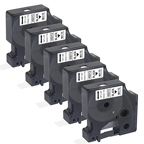 5-Pack Compatible for Dymo D1 Labels Tape 45013 Refills S0720530 1/2 Inch x 23 Feet Black on White for DYMO LabelManager 160 280 210D 360D 420P Wireless PnP 220P 260P 450D Label Maker
