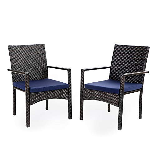 PHI VILLA Patio Wicker Chair Set of 2 Outdoor Modern PE Rattan Armchair with Removable Cushions for Deck Porch Balcony