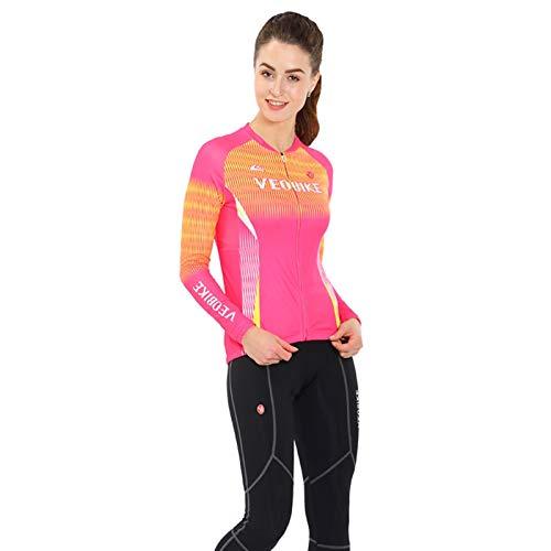 Epinki Damen Fahrradshirts Sommer Fahrradtrikot Rose Radfahren Jersey Atmungsaktiv Schnell Trocken Sports Fahrradbekleidung Radtrikot Set Größe XXL