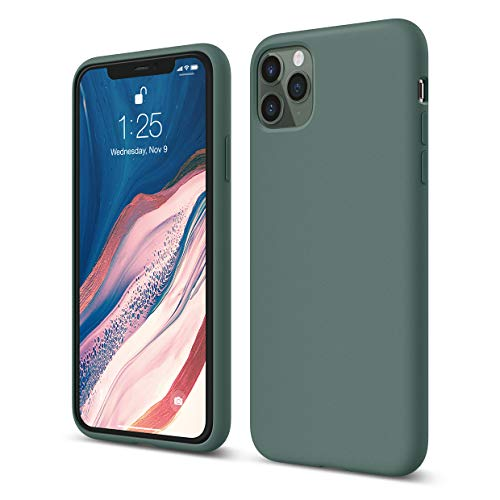 elago Liquid Silicone Case Designed for iPhone 11 Pro Max Case (6.5'), Premium Silicone, Full Body Protection : 3 Layer Shockproof Cover Case (Midnight Green)