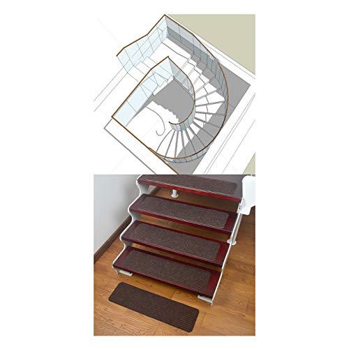 LXZFJW Escaleras antideslizantes alfombras para escaleras de interior para niños ancianos y mascotas con adhesivo reutilizable, color blanco café 65 x 20 cm, 15 unidades