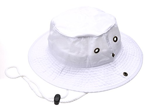 Summer Outdoor Boonie Hunting Fishing Safari Bucket Sun Hat with Adjustable Strap(White,LXL)