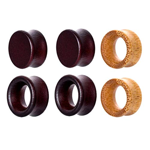 Iwinna 3 Pairs Vintage Wooden Bamboo Ear Plugs Tunnel Gauges Stretcher 8mm-20mm