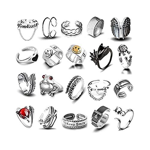 20 Stück Vintage Punk Ringe Set, Öffnung Entwined Ringe Dragon Schlange Punk Ring für Damen Herren Fingerring Verstellbar Gothic Ring Set Schmuck Geschenk für Männer
