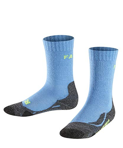 FALKE Kinder TK2 Trekking Socken, wadenlange Wandersocken mit Merinowolle für Mädchen und Jungen, 1 er Pack, Blau (Blue Note 6545), 31-34