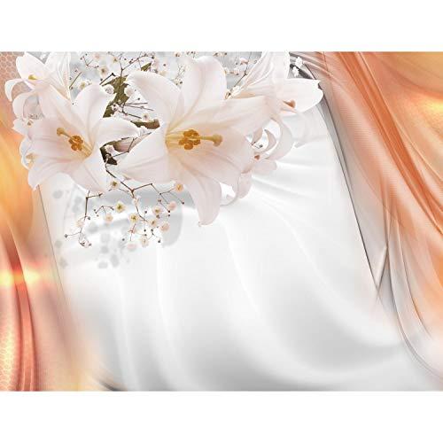 Fototapete Blumen Lilien 352 x 250 cm Vlies Tapeten Wandtapete XXL Moderne Wanddeko Wohnzimmer Schlafzimmer Büro Flur Grau Orange 9358011a
