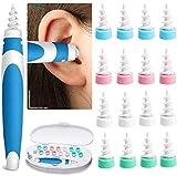 Ohrenreiniger Ohrenschmalz Entferner,Ear Cleaning Kit,Q Grips Ohrenreiniger mit 16 Ersatzköpfen, Sicheres und Weiches Spiral Silikon Ohrenschmalzreiniger(Blau)