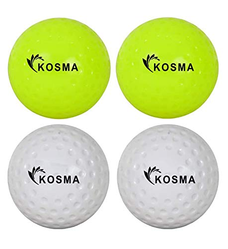 Kosma Juego de 4 pelotas de hockey de hoyuelos | pelotas de entrenamiento de PVC para deportes al aire libre (2 amarillas, 2 blancas)