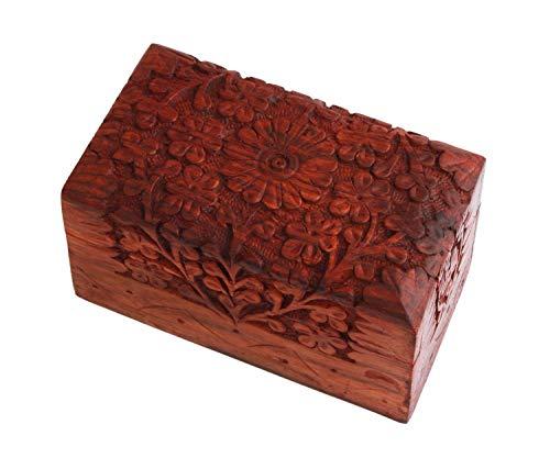 Indus Lifespace Spielkarten-Box aus Holz, handgeschnitzt, 12 x 7 x 7 cm, mit Blumen-Schnitzereien