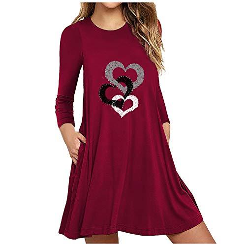 Surfiiiy - Vestido para mujer, diseño de corazón y diente de león y jirafa, color liso, cuello redondo, manga larga con bolsillos, vestido grande, vestido con estampado de corazón Du Vin 1 M