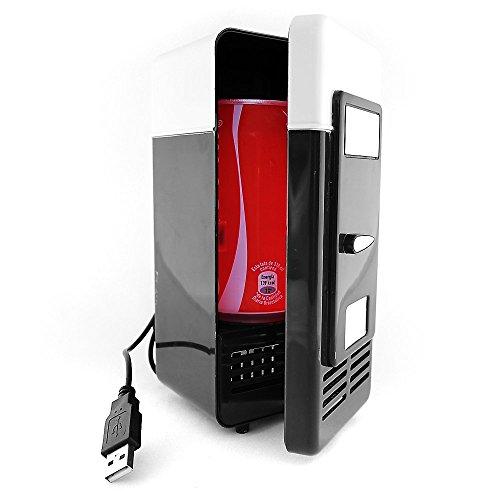 REY Mini Nevera USB Refrigerador Vintage, Pequeño Frigorífico para Lata, Color Negro...