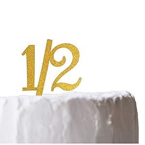ハーフバースデー 1/2 ケーキトッパー 紙製 6ヵ月 半年 Half Birthday バースデー お誕生日 記念日 イベント パーティー 写真撮影 Limpomme オリジナルパッケージ