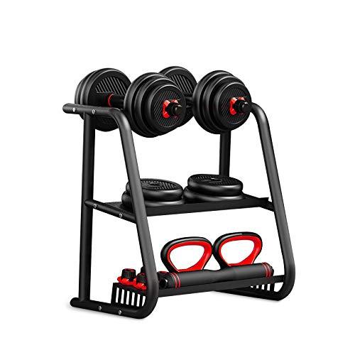 OMGPFR Soporte para mancuernas con soporte para pesas y placas de peso, carga máxima de 50 kg, estante de almacenamiento de disco para entrenamiento de fuerza en el hogar