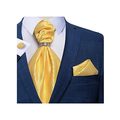 NXYJD Nuevo Traje de Corbata Hombres Fiesta de Bodas Cravat Lazos Pañuelo Pañuelo Pantalones Necktie Conjuntos (Color : A)