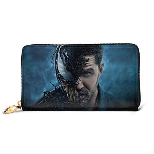 Venom Wallet, cartera larga de piel de vacuno, cremallera de gran capacidad de embrague tarjetas de crédito caso monedero delgado cambio titular