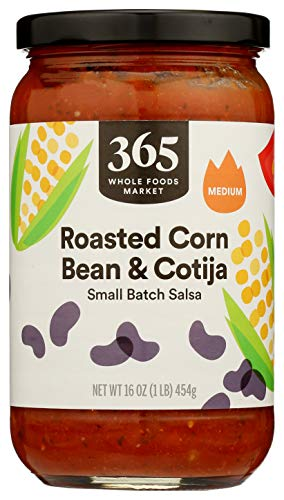 365 by Whole Foods Market, Salsa, Small Batch Roasted Corn, Bean & Cotija - Medium, 16 Ounce